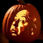 Carved pumpkin with Hitchcock's face